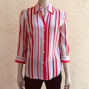 Theory stretch silk striped top red pink blue